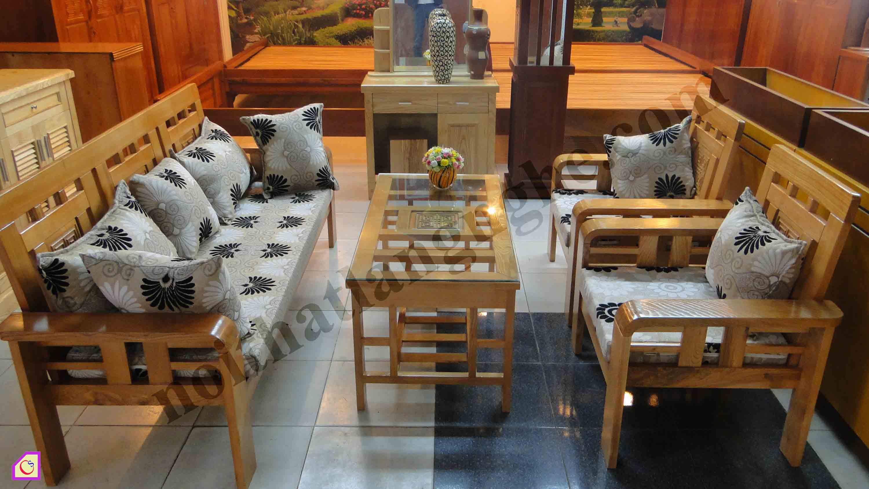 Bàn ghế phòng khách gỗ Xoan phong cách hiện đại