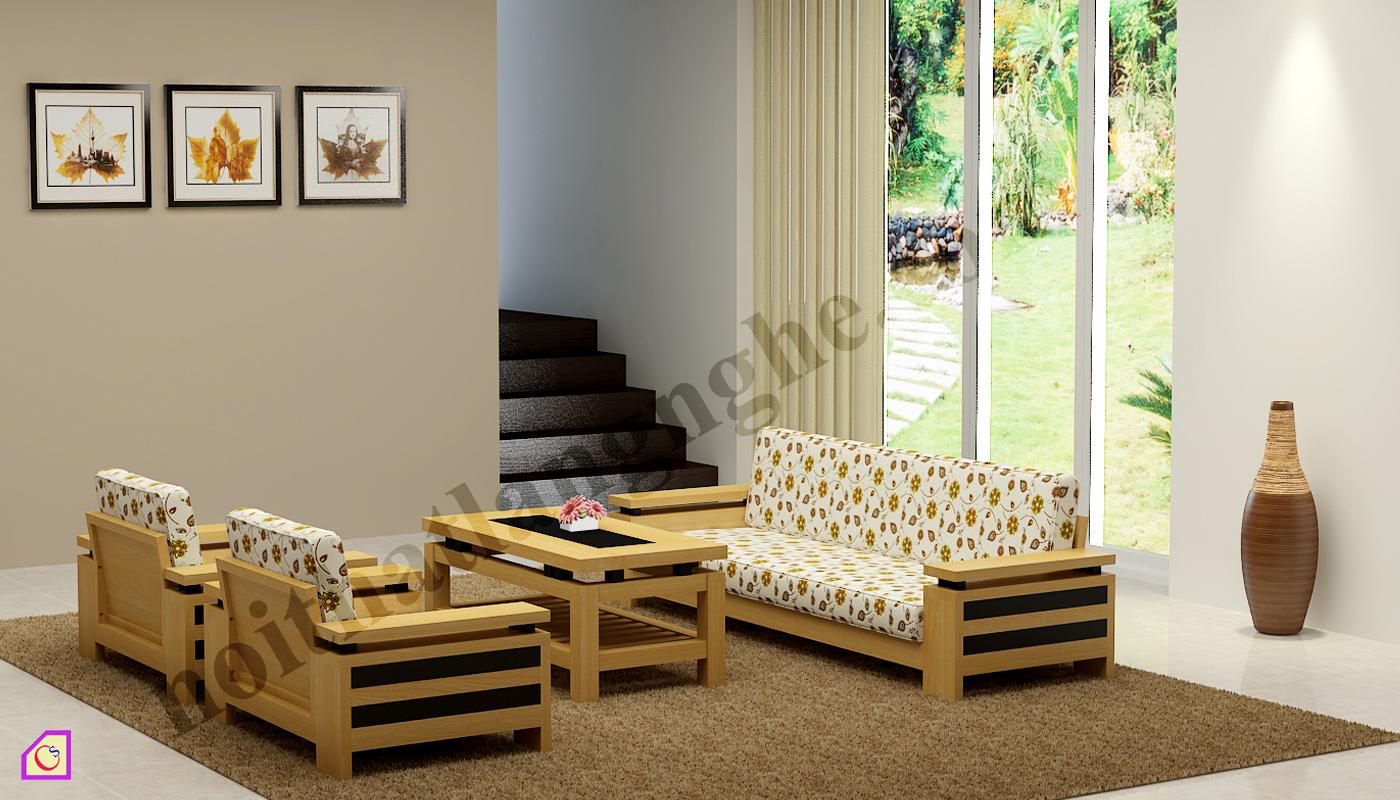Bàn ghế phòng khách gỗ Sồi BGPK_12