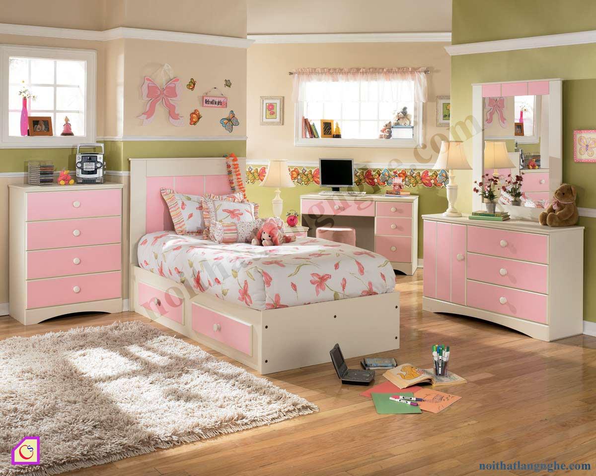 Bộ phòng ngủ trắng hồng cho bé gái PNT_26