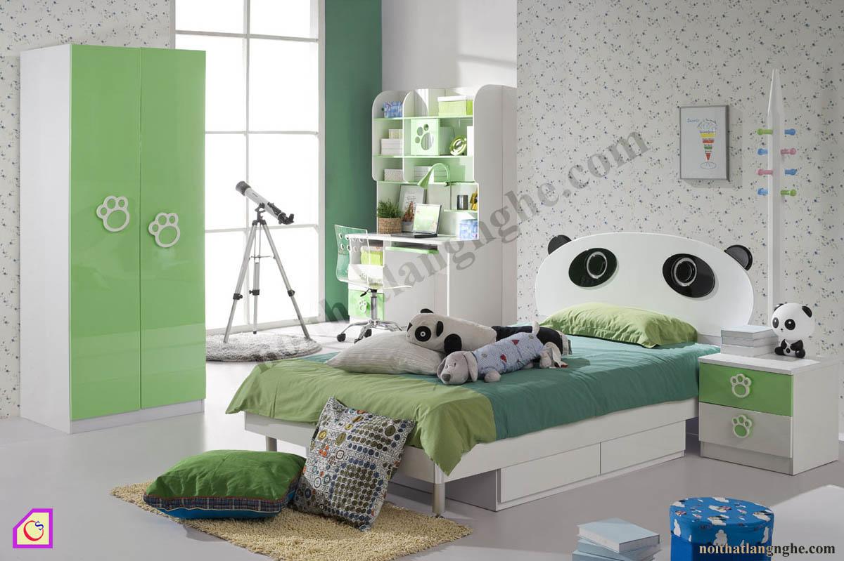 Bộ phòng ngủ gấu trúc cho bé trai PNT_29