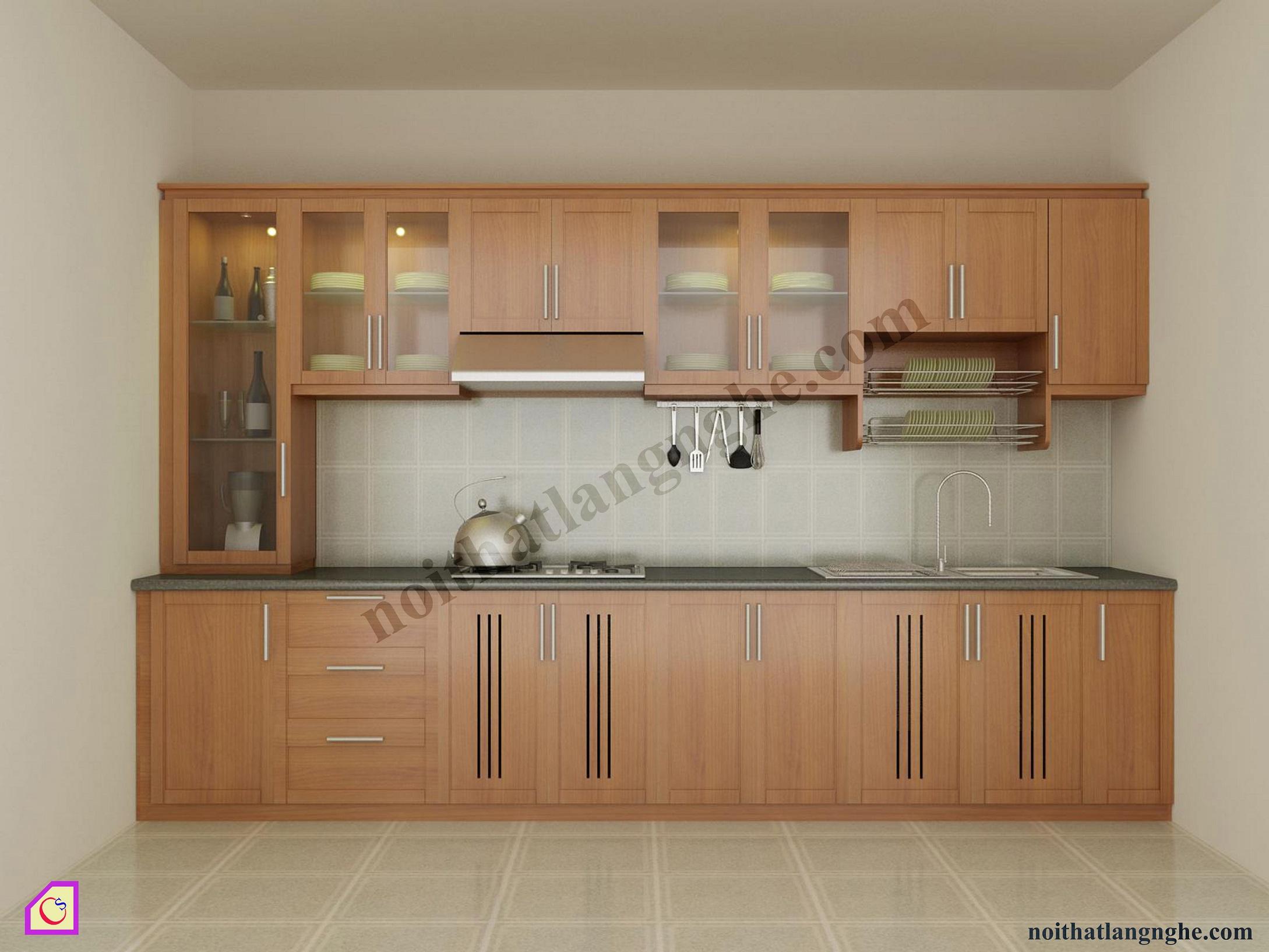 Tủ bếp gỗ Xoan Đào dạng chữ i TBI_06