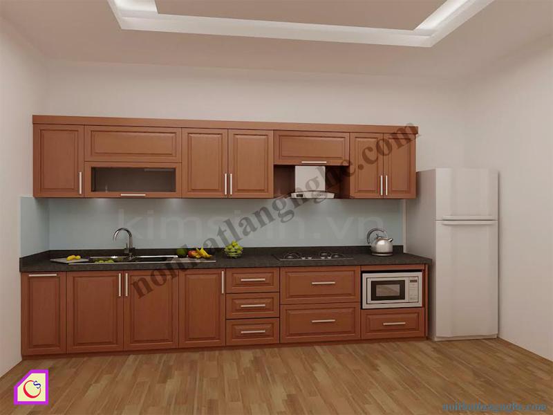 Tủ bếp gỗ Xoan Đào dạng chữ i TBI_09