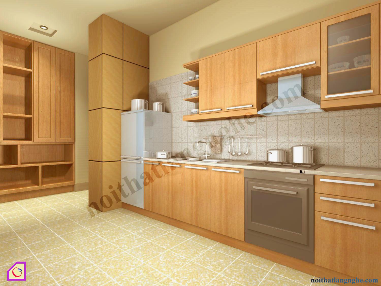 Tủ bếp Veneer dạng chữ I TBI_31