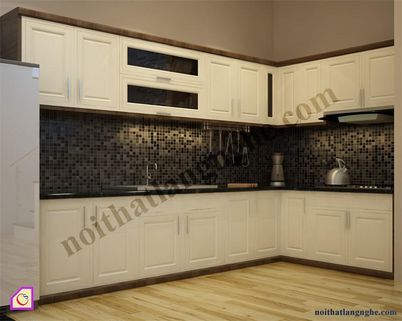 Tủ bếp gỗ Sồi dạng chữ L TBL_22