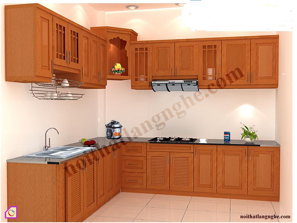 Tủ bếp gỗ Xoan Đào dạng chữ L TBL_24