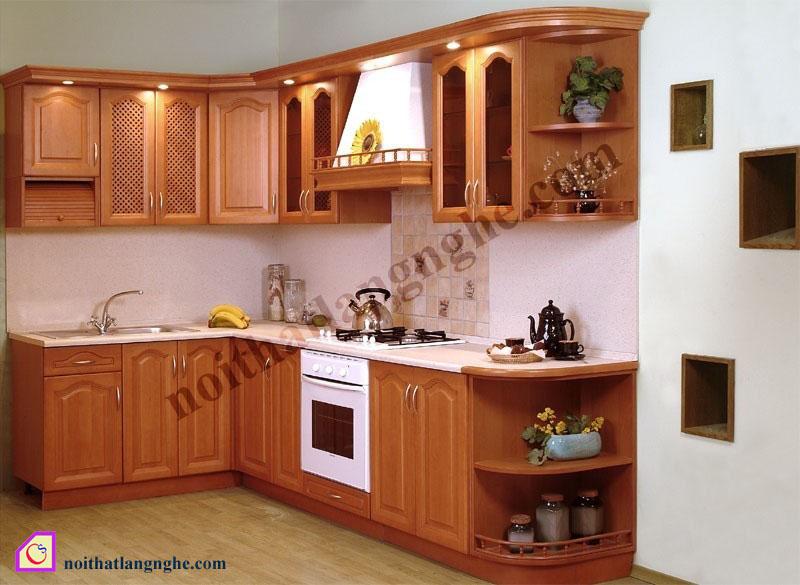 Tủ bếp gỗ Xoan Đào dạng chữ L TBL_25