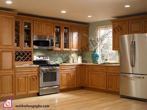 Tủ bếp gỗ Sồi dạng chữ L TBL_21