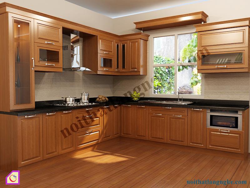 Tủ bếp gỗ Xoan Đào dạng chữ L TBL_28