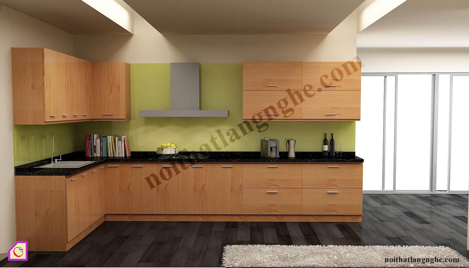 Tủ bếp Veneer dạng chữ L TBL_47