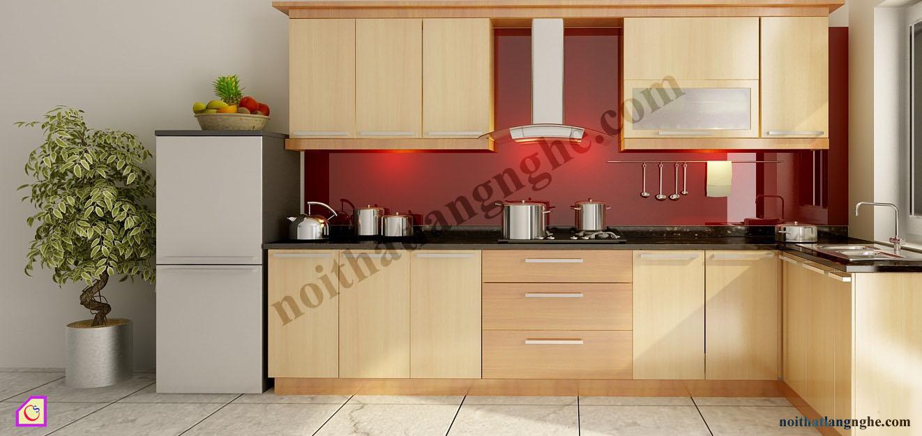 Tủ bếp Veneer dạng chữ L TBL_48