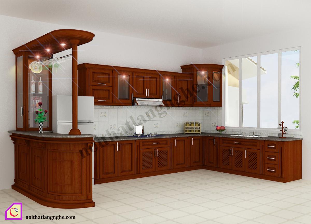 Tủ bếp gỗ Hương dạng chữ U TBU_08