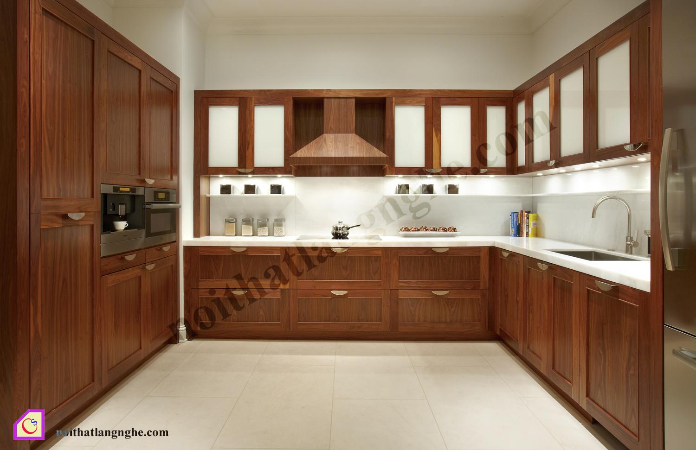 Tủ bếp gỗ Óc Chó dạng chữ U TBU_09