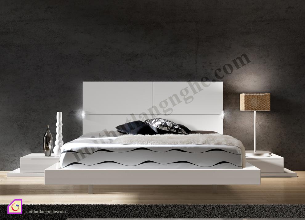 Giường ngủ trắng hiện đại GN_35