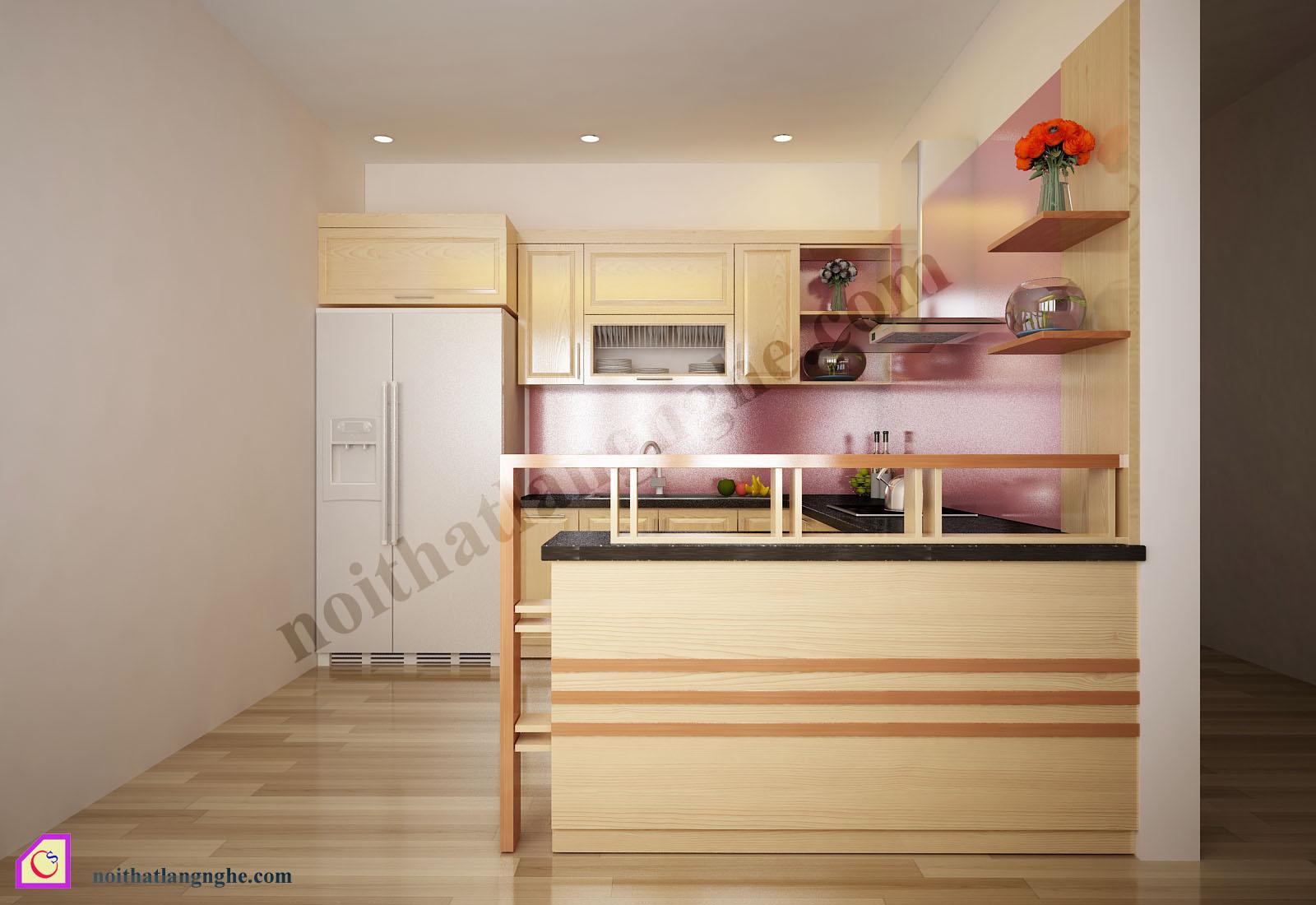 Tủ bếp gỗ Sồi dạng chữ U TBU_12