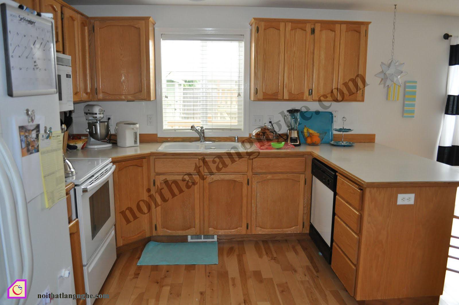 Tủ bếp gỗ Sồi dạng chữ U TBU_14