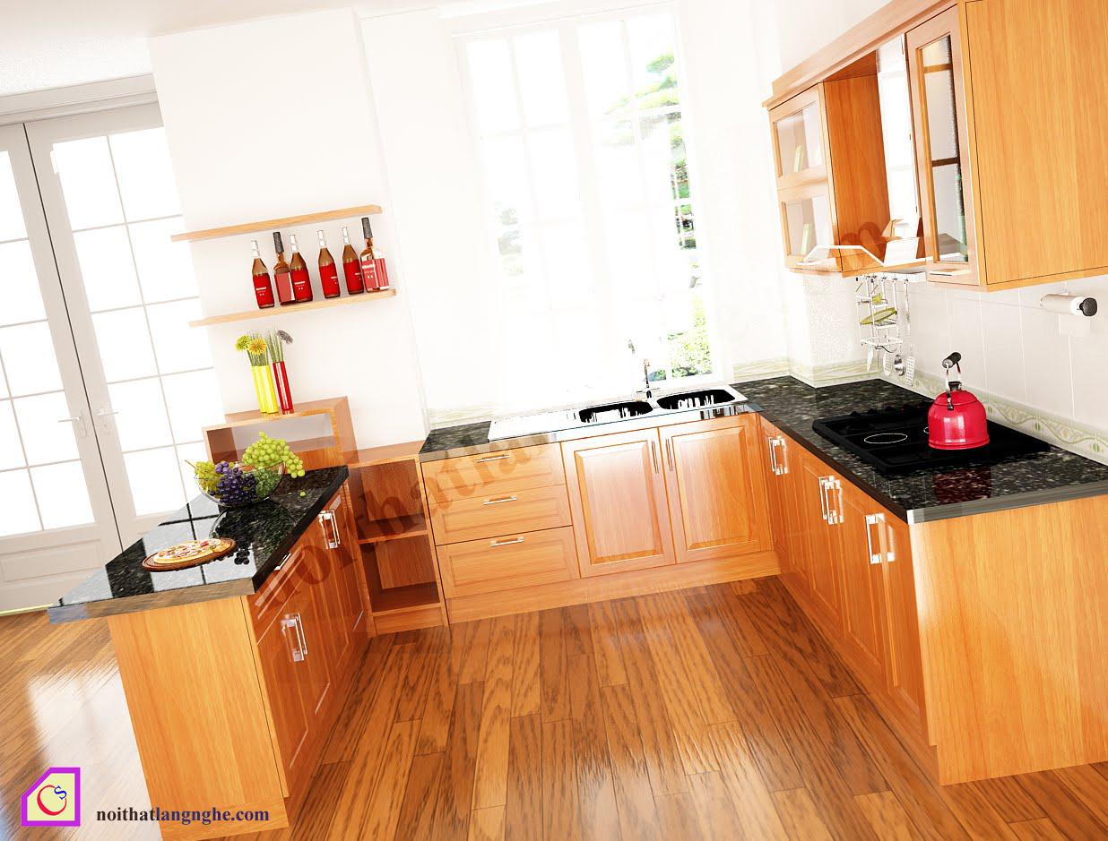Tủ bếp gỗ Xoan Đào dạng chữ U TBU_17