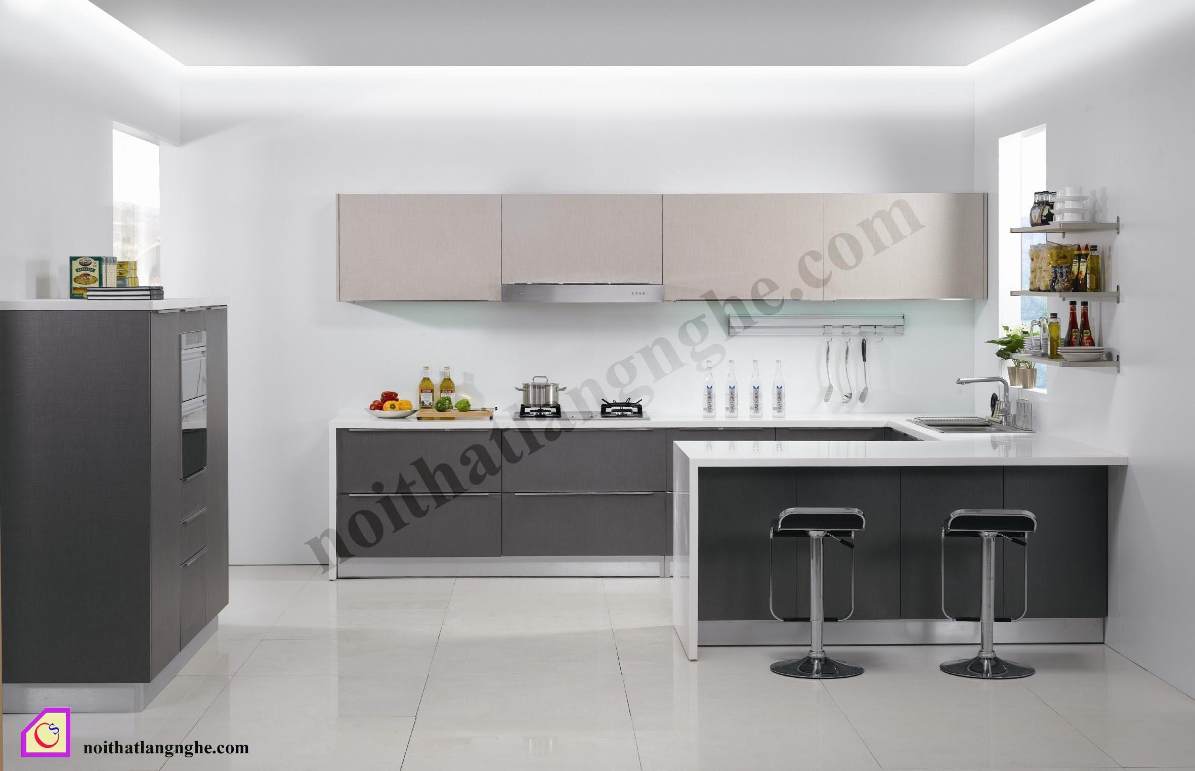 Tủ bếp Melamine dạng chữ U TBU_32