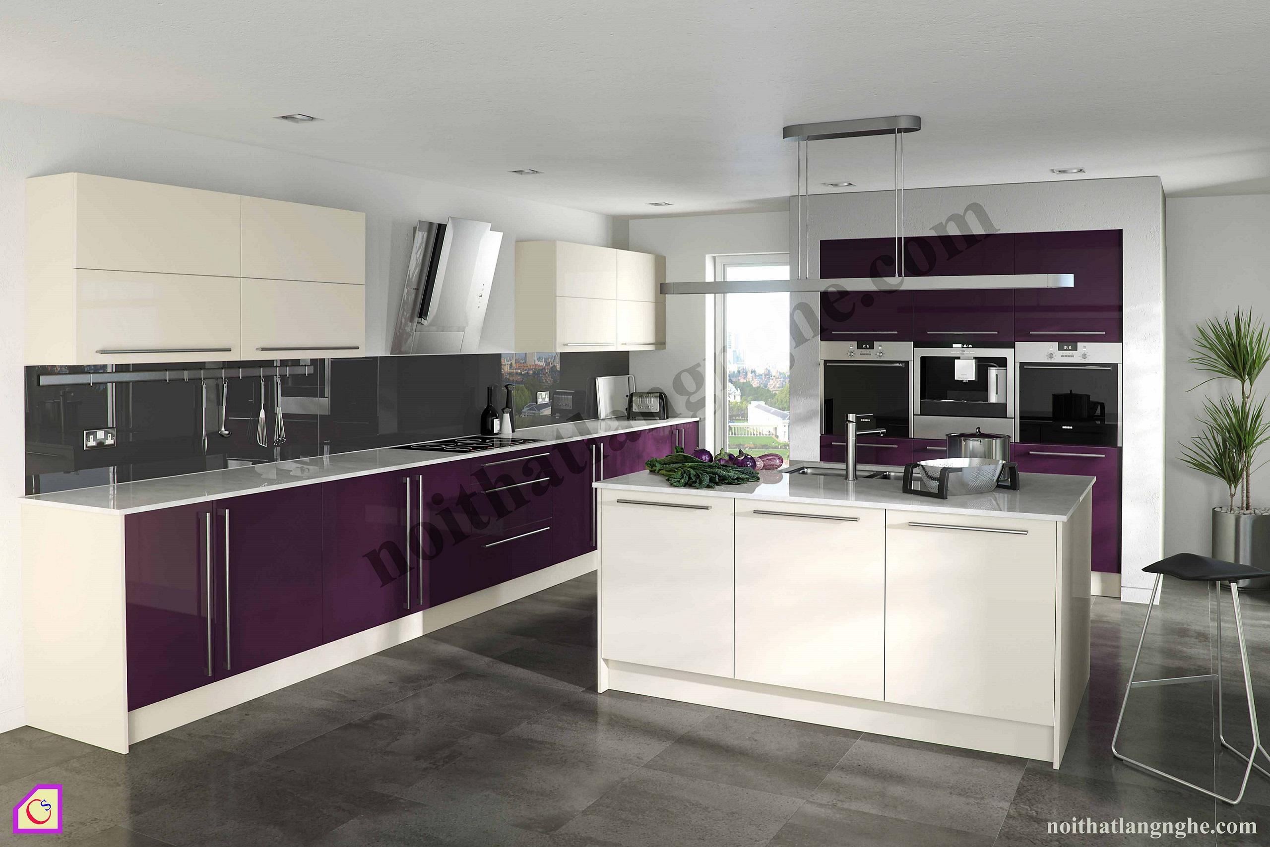 Tủ bếp Acrylic có bàn đảo TBĐ_01