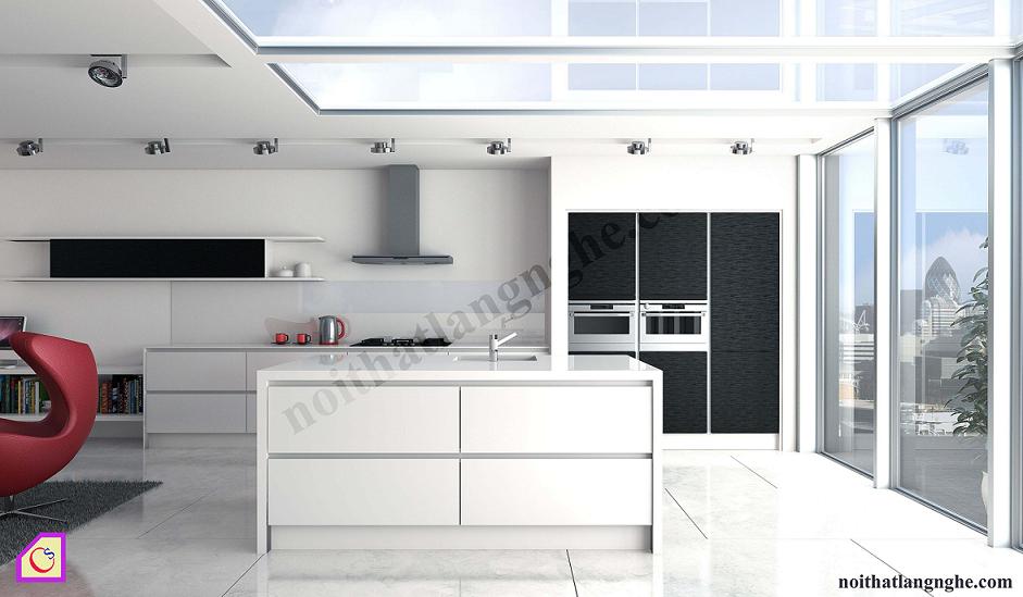 Tủ bếp Acrylic có bàn đảo TBĐ_02