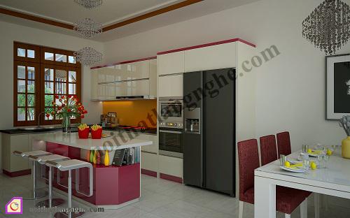 Tủ bếp Acrylic có bàn đảo TBĐ_03