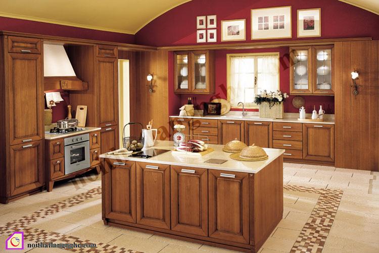 Tủ bếp gỗ Sồi có bàn đảo TBĐ_16