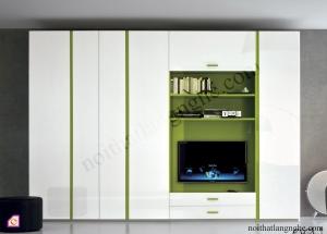 Tủ quần áo cánh mở:Bộ tủ quần áo kết hợp kệ tivi TAM_36