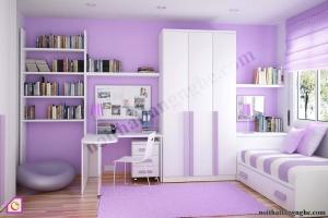 Nội thất trẻ em:Bộ phòng ngủ màu khoai môn PNT_05