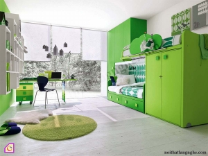 Phòng ngủ trẻ em:Bộ phòng ngủ xanh lá cây PNT_16