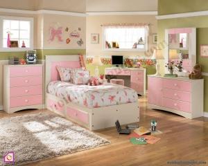 Phòng ngủ trẻ em:Bộ phòng ngủ trắng hồng cho bé gái PNT_26