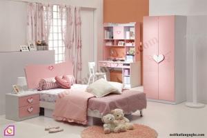 Phòng ngủ trẻ em:Bộ phòng ngủ trái tim cho bé gái PNT_27