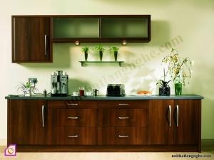 Nội thất phòng bếp:Tủ bếp gỗ óc chó dạng chữ i TBI_03