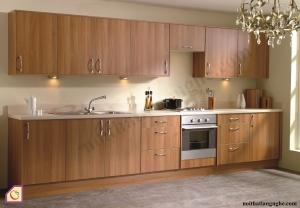 Tủ bếp dạng chữ I:Tủ bếp gỗ óc chó dạng chữ i TBI_04