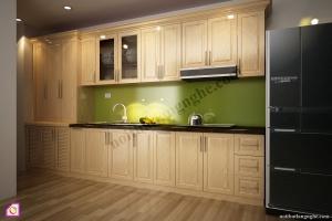 Tủ bếp dạng chữ I:Tủ bếp gỗ Sồi dạng chữ i TBI_05