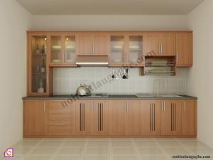 Nội thất phòng bếp:Tủ bếp gỗ Xoan Đào dạng chữ i TBI_06