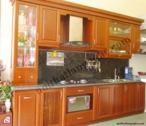Nội thất phòng bếp:Tủ bếp gỗ Xoan Đào dạng chữ i TBI_08