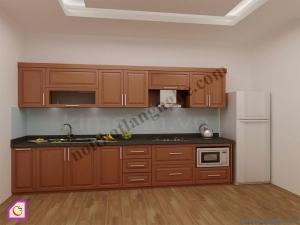 Nội thất phòng bếp:Tủ bếp gỗ Xoan Đào dạng chữ i TBI_09