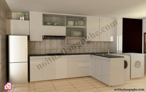 Tủ bếp dạng chữ I:Tủ bếp Laminate dạng chữ i TBI_11