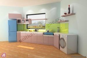 Tủ bếp dạng chữ I:Tủ bếp Laminate dạng chữ i TBI_13
