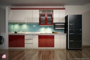 Tủ bếp dạng chữ I:Tủ bếp Laminate dạng chữ i TBI_14