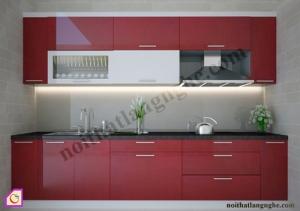 Tủ bếp dạng chữ I:Tủ bếp Acrylic dạng chữ i TBI_15