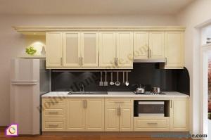 Nội thất phòng bếp:Tủ bếp gỗ Sồi dạng chữ i TBI_18