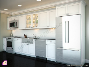 Nội thất phòng bếp:Tủ bếp gỗ Sồi dạng chữ i TBI_19