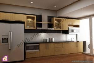 Tủ bếp dạng chữ I:Tủ bếp gỗ Sồi dạng chữ i TBI_20
