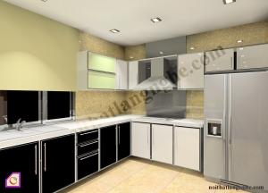 Tủ bếp dạng chữ L:Tủ bếp Acrylic dạng chữ L TBL_03