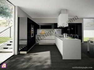 Tủ bếp dạng chữ L:Tủ bếp Acrylic dạng chữ L TBL_04