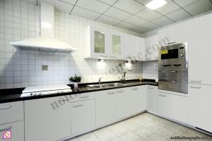 Tủ bếp dạng chữ L:Tủ bếp Acrylic dạng chữ L TBL_05