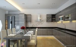 Tủ bếp dạng chữ L:Tủ bếp Acrylic dạng chữ L TBL_06