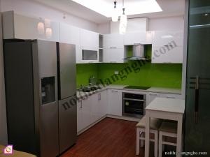 Tủ bếp dạng chữ L:Tủ bếp Acrylic dạng chữ L TBL_07