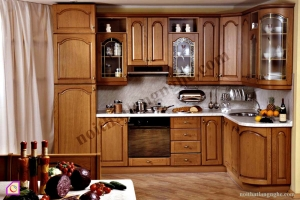 Tủ bếp dạng chữ L:Tủ bếp gỗ Hương dạng chữ L TBL_08