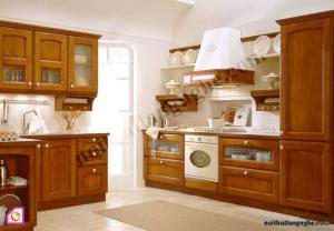 Tủ bếp dạng chữ L:Tủ bếp gỗ Hương dạng chữ L TBL_09
